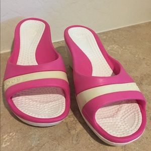 Crocs Pink White Wedge Shoe Sandals